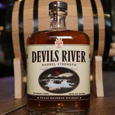 Devils River Barrel Strength Bourbon Whiskey 750ml.