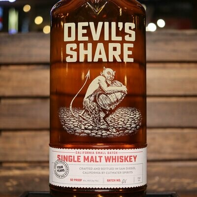 Cutwater Devil's Share Single Malt Whiskey 750ml.