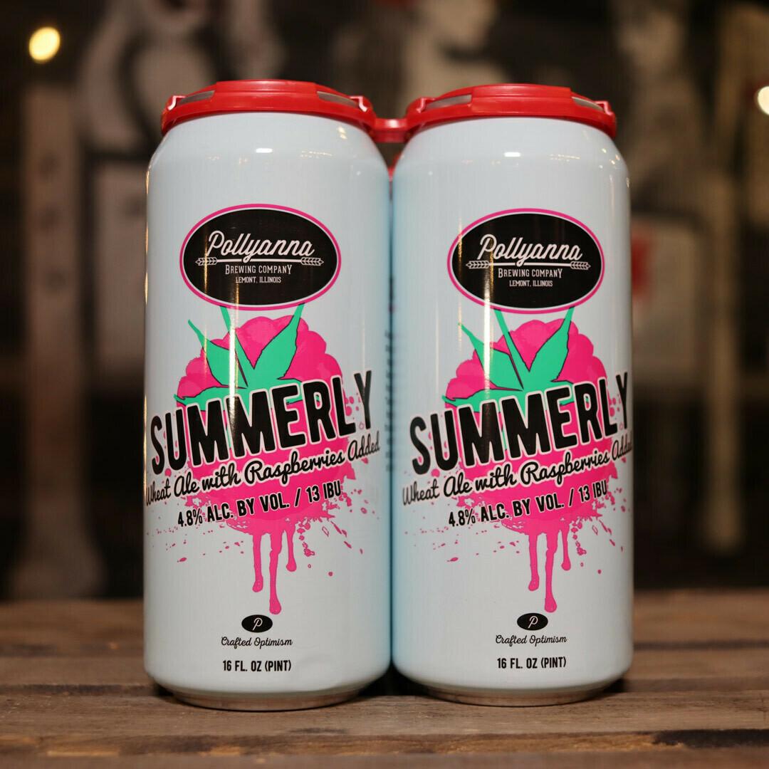 Pollyanna Summerly Wheat Ale w/Raspberries 16 FL. OZ. 4PK Cans
