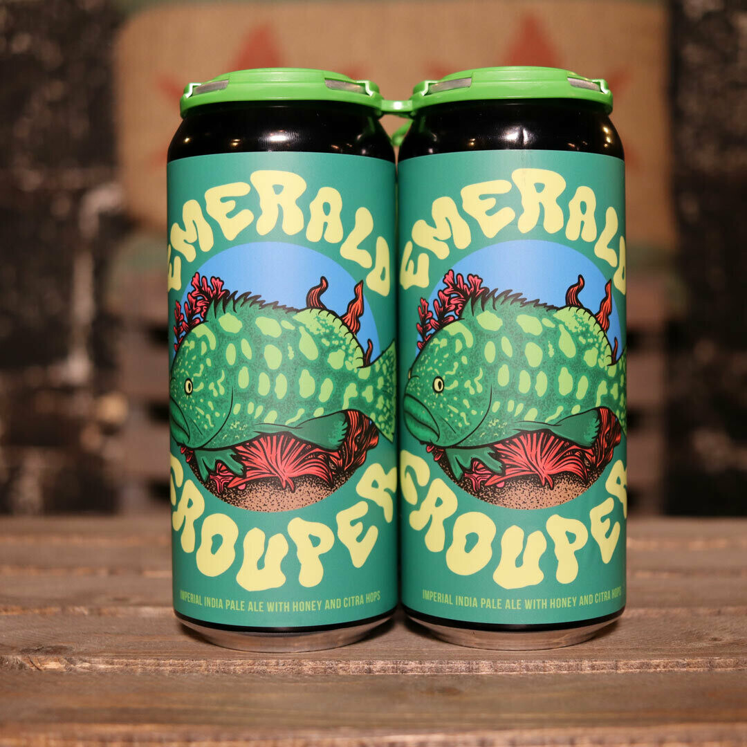 Pipeworks Emerald Grouper Imperial IPA W/Honey & Citra Hops 16 FL. OZ. 4PK Cans