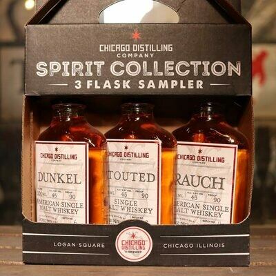 Chicago Distilling 3 Flask Sampler Whiskey Gift Pack 600ml
