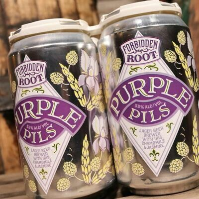 Forbidden Root Purple Pils Lager w/Chamomile & Jasmine 12 FL. OZ. 4PK Cans