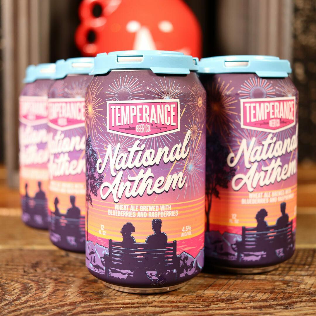 Temperance National Anthem Wheat Ale w/Blueberries & Raspberries 12 FL. OZ. 6PK Cans