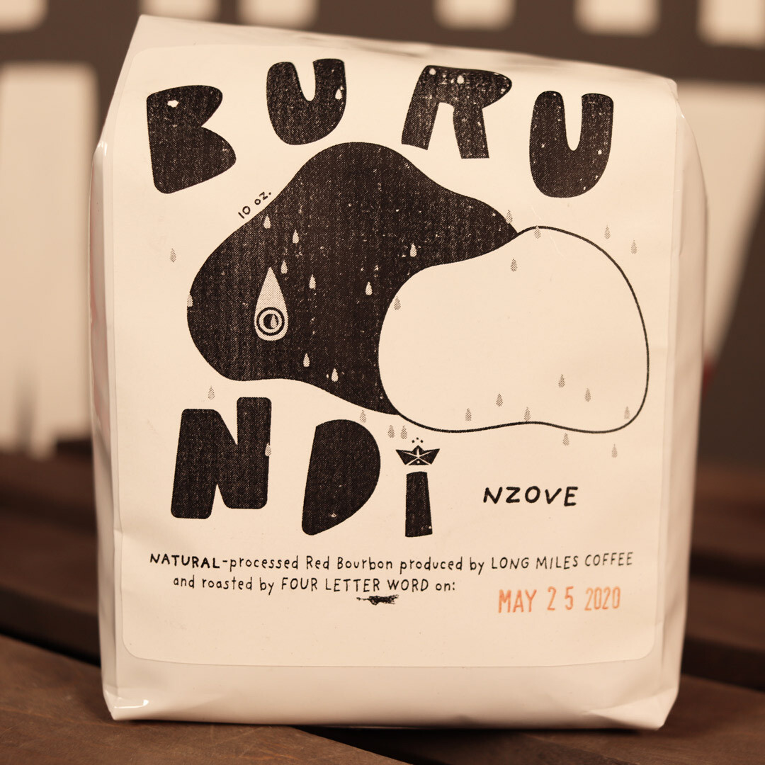 Four Letter Word Burundi Natural-Processed Red Bourbon Whole Bean Coffee 10oz Bag