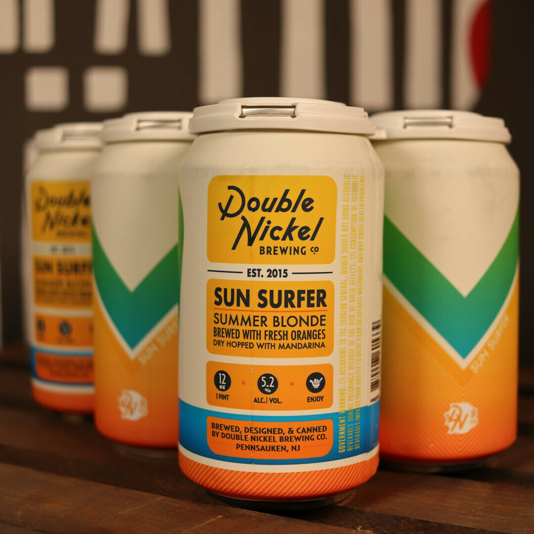 Double Nickel Sun Surfer Blonde Ale w/Fresh Oranges 12 FL. OZ. 6PK Cans
