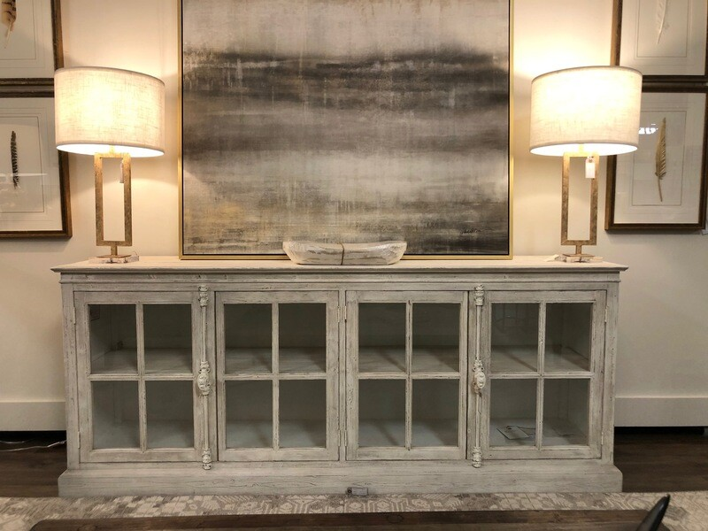 White Washed Long Media Console