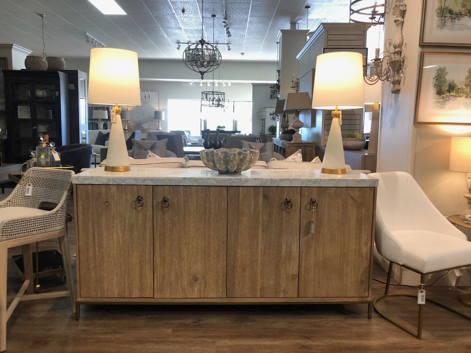 Sideboard in Stone Wash with White Marble
