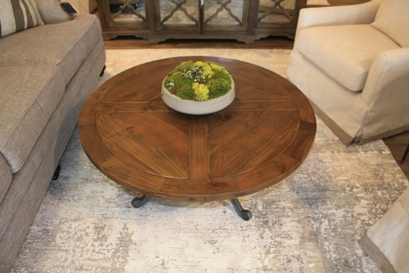 Round Wooden Crank and Iron Coffee Table