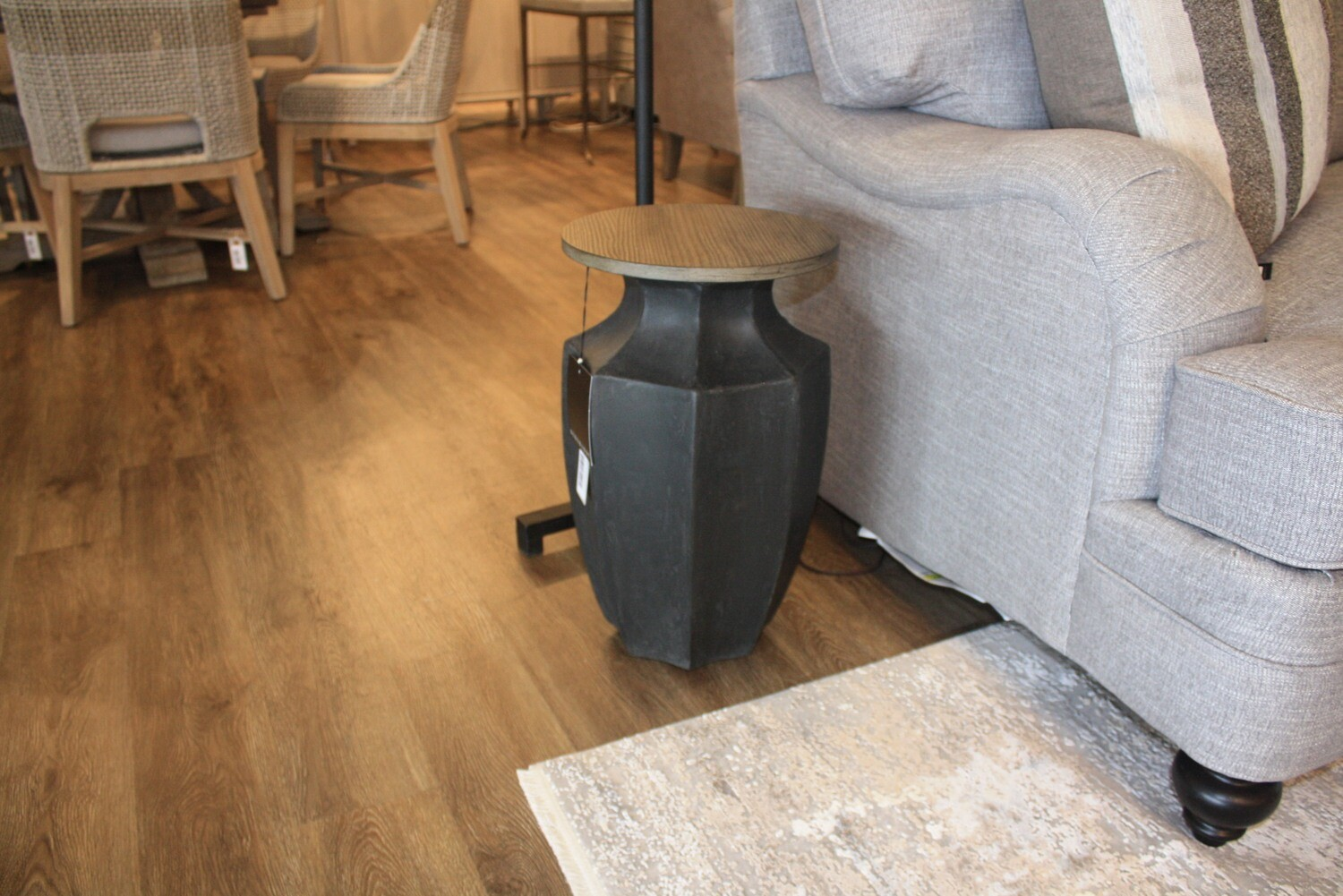 Black with Wood Side Table