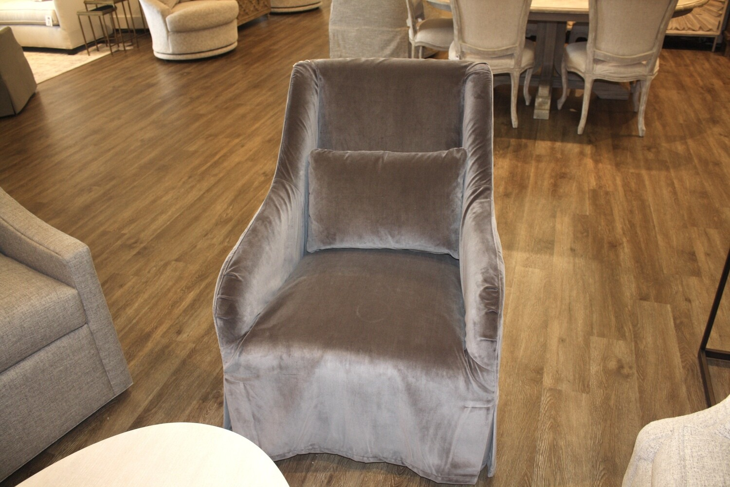 Grey Slipcover Swivel Velvet