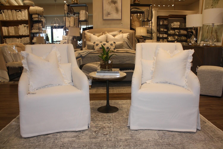 White Slipcover Swivel Chair