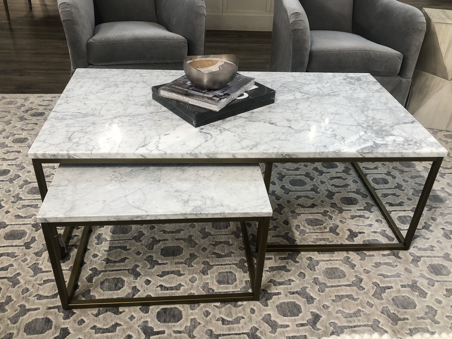 Nesting Coffee Table White Marble