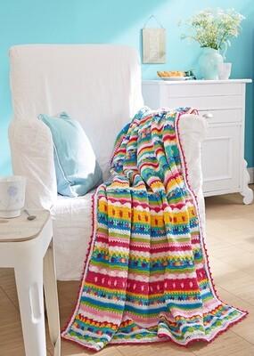 Kleurrijk gehaakte deken