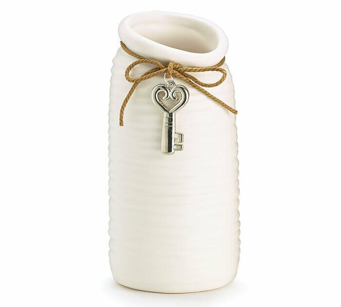 Vase Ceramic Ribbed Matte