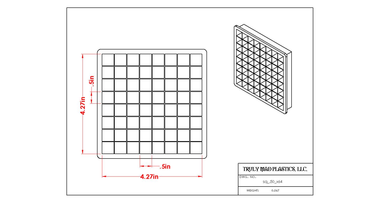 "Square 0.50"" (Cuts 64)"