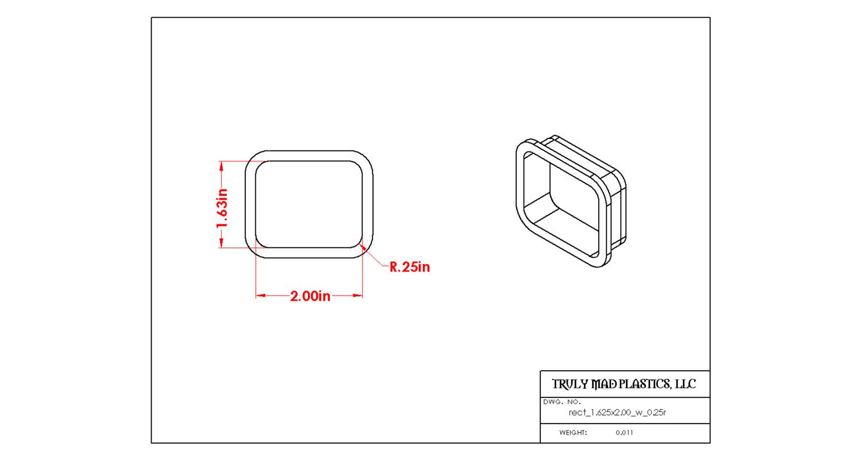 "Rectangle 1.625"" x 2.00"" w .025R"