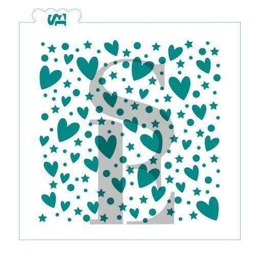 SE Hearts #2 Stars/Dots Background Stencil
