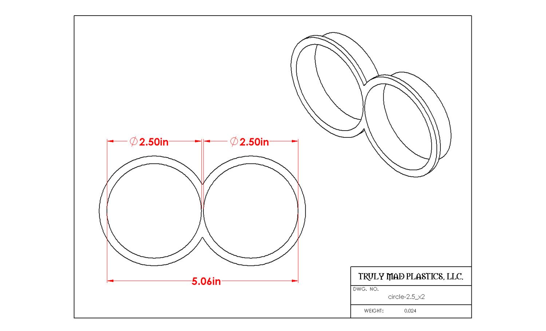 "Circle 2.50"" x 2"