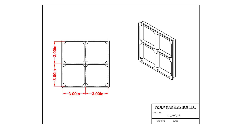 "Square 3.00"" (Cuts 4)"