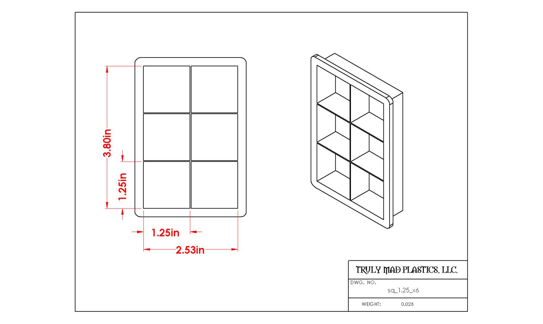 "Square 1.25"" (Cuts 6)"