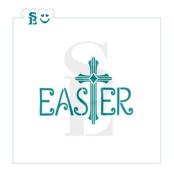 "Easter Plaque Cross Stencil 3.5"""