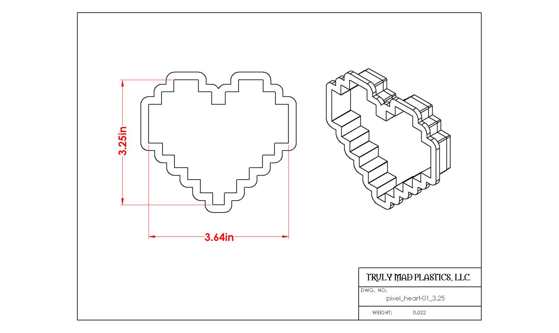 "Pixel Heart 01 (3.25"" tall)"