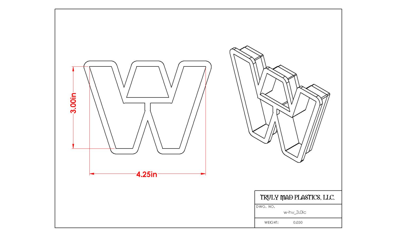 """Helvetica """"w"""" lower case 3.0"""""""