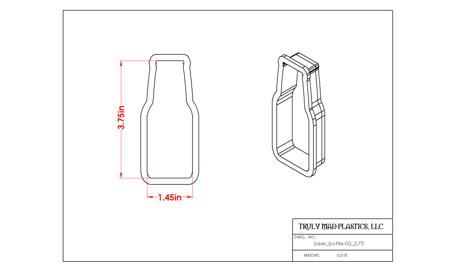 "Beer Bottle 03 (3.75"")"
