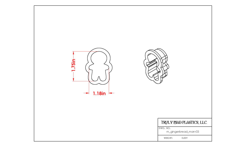 "Mini Gingerbread Man 03 (1.75"")"