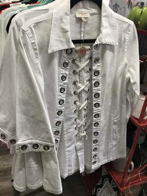 Lace Up Jacket White