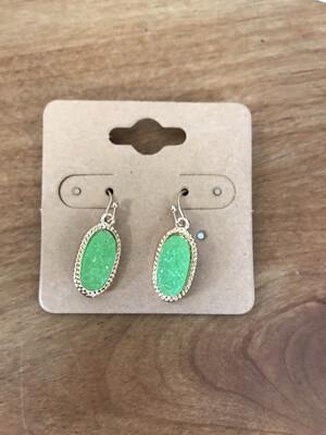 Green Druzy Earrings