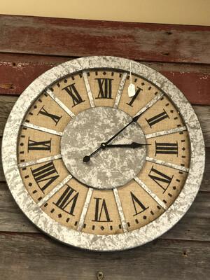 Wall Clock Wood/Burlap