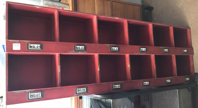 Red Shelf W/12 Shelves & Tag
