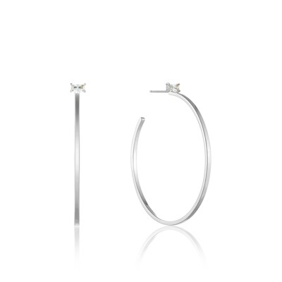 AH Glow Hoop Earrings - Silver