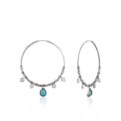 AH Turq Labr Hoop Earrings - Silver