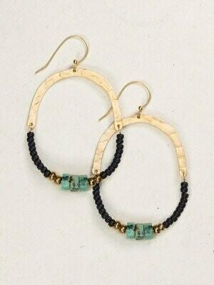 Holly Yashi 1122 Black/Turquoise Rhea Earrings