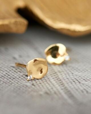 AH Crush Disc Stud Earrings - Gold