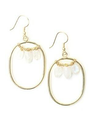 Fair Anita Blazen Moonstone Brass Earrings