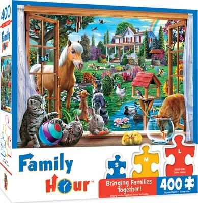 Peeking through Family puzzle 400 piece puzzle