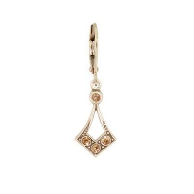 E1075L Yellow Crystal Vintage Diamond Teardrop BB Earrings