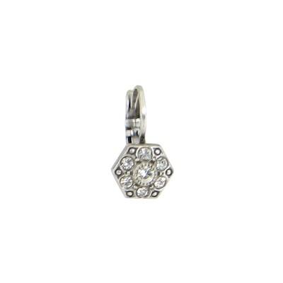 E914W White Crystal Hexagon BB Earrings