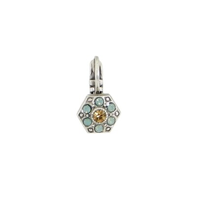 E914L Light Blue & Yellow Crystal Hexagon BB Earrings