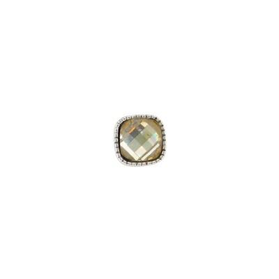 E975L Gold Square Granulated Post BB Earrings