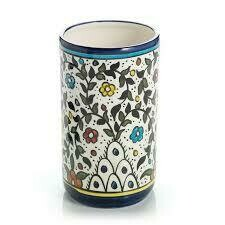 Serrv /BOX/ Utensil Holder Blue Flowers - 43159