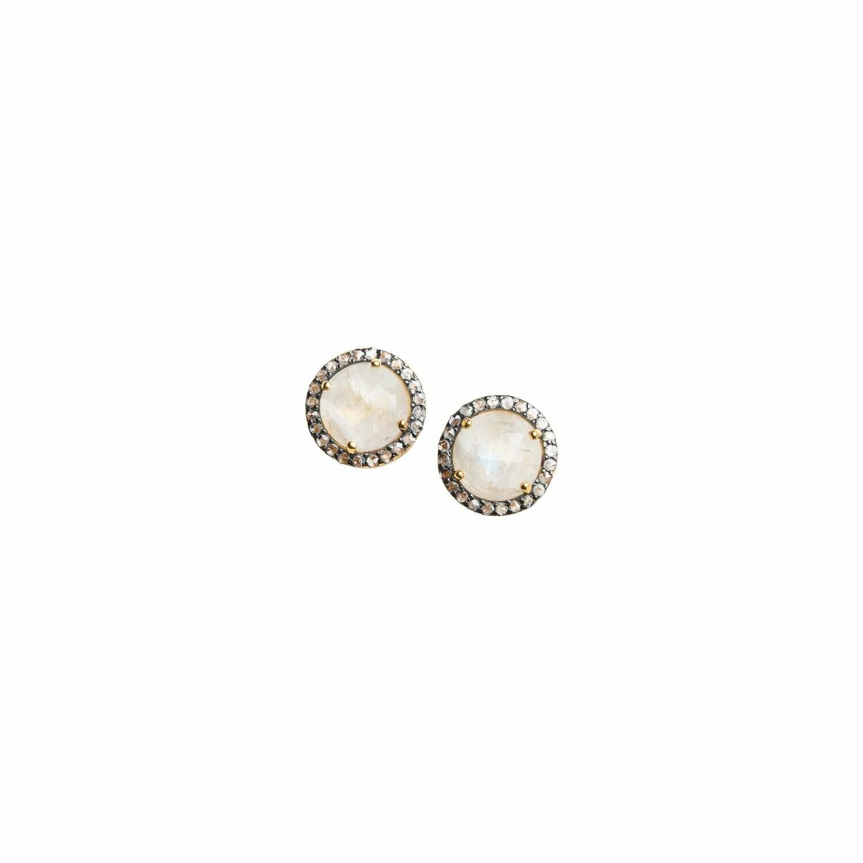 Diamond and Moonstone Earrings