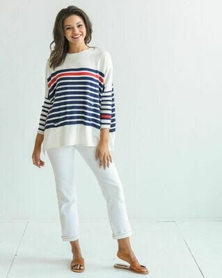 Catalina Sweater - Striped Navy/Red