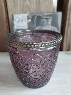 Teelicht-Glas violett