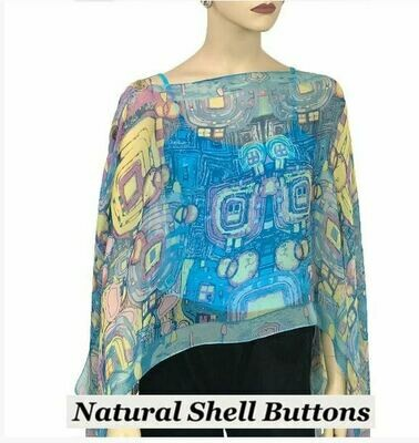 MS Blue Abstract silk cape