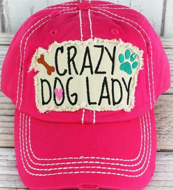 Distressed Hot Pink 'Crazy Dog Lady' Cap