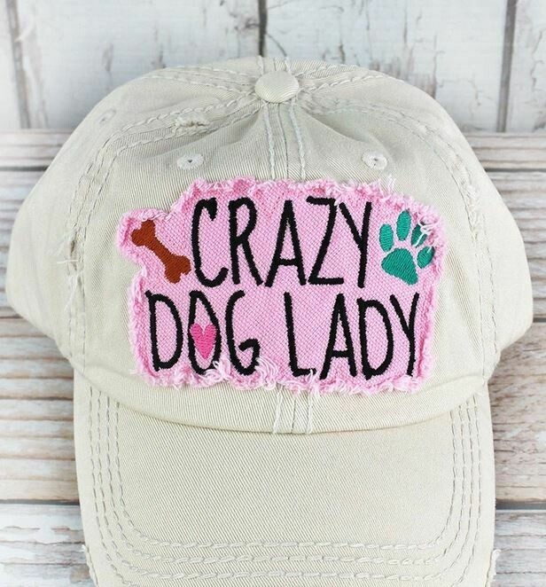 Distressed Stone 'Crazy Dog Lady' Cap